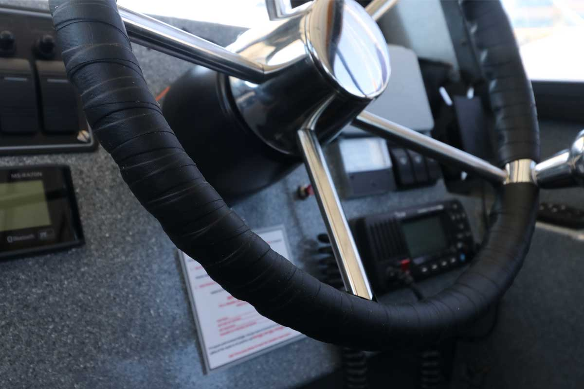 Close-up of Boat Steering Wheel